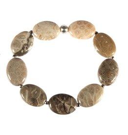 Zilveren armband koraal (fossiel) ovale kralen