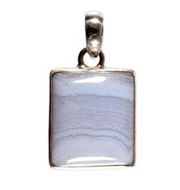 Zilveren hanger chalcedoon rechthoek afgerond 2,2 x 1,9 cm