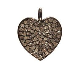 Zilveren hanger diamantjes hart