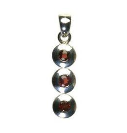 Zilveren hanger granaat 3 cirkels