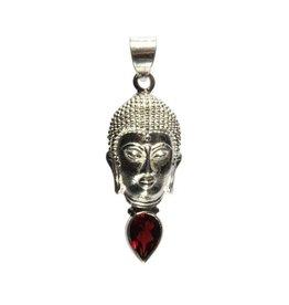 Zilveren hanger granaat boeddha