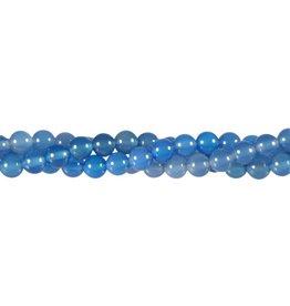 Agaat (blauw) kralen rond 6 mm (snoer van 40 cm)