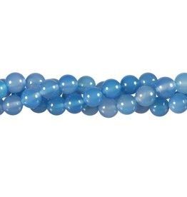 Agaat (blauw) kralen rond 8 mm (snoer van 40 cm)