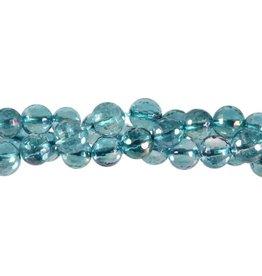 Aqua aura kwarts kralen rond facet 8 mm (snoer van 40 cm)