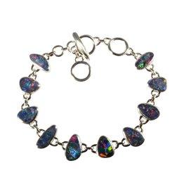 Zilveren armband opaal (blauw) 10 stenen