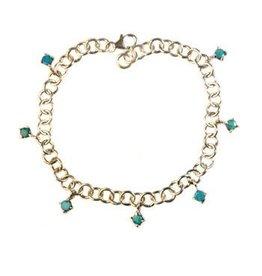 Zilveren armband opaal (blauw) rond