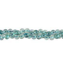 Fluoriet (blauw) kralen rond 6 mm (snoer van 40 cm)