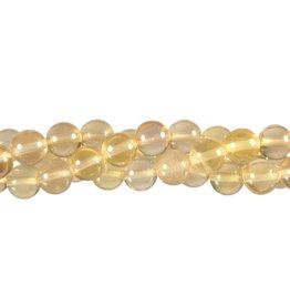 Fluoriet (geel) kralen rond 8 mm (streng van 40 cm)