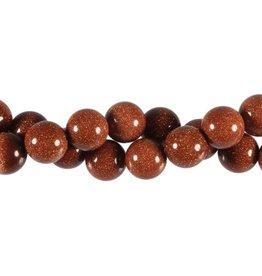 Goudsteen (rood) kralen rond 12 mm (snoer van 40 cm)