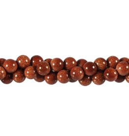 Goudsteen (rood) kralen rond 8 mm (snoer van 40 cm)