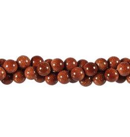 Goudsteen (rood) kralen rond 8 mm (streng van 40 cm)