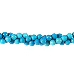 Howliet (turquoise gekleurd) kralen rond 6 mm (streng van 40 cm)