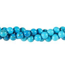 Howliet (turquoise gekleurd) kralen rond 8 mm (snoer van 40 cm)