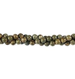 Jaspis (breccie) groen kralen rond 6 mm (streng van 40 cm)