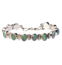 Zilveren armband opaal (edel) 12 stenen
