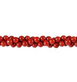 Koraal (rood gekleurd) kralen rond 6 mm (snoer van 40 cm)