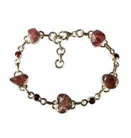 Zilveren armband toermalijn (roze) met granaat facet