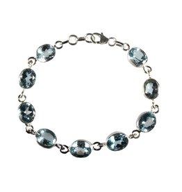 Zilveren armband topaas (blauw) ovaal facet 9 x 7 mm