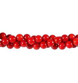 Koraal (rood gekleurd) kralen rond 7 - 8 mm (streng van 40 cm)