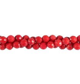 Koraal (rood gekleurd) kralen rond facet 6 tot 7 mm (streng van 40 cm)