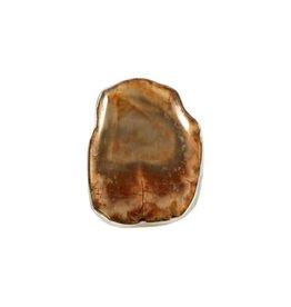 Zilveren ring versteend hout maat 18 1/4 | 2,4 x 1,4 cm