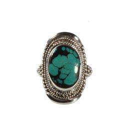 Zilveren ring turkoois maat 19 1/2   ovaal 1,7 x 1,3 cm (1)