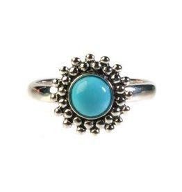 Zilveren ring turkoois (sleeping beauty) maat 17 1/4 | rond bolletjes