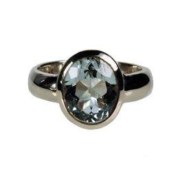 Zilveren ring topaas (blauw) maat 19 1/4 | ovaal facet glad