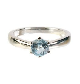 Zilveren ring topaas (blauw) maat 17 1/4 | gezet