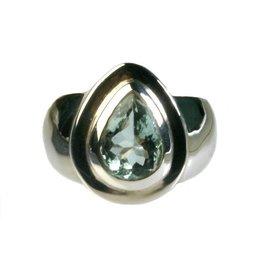 Zilveren ring topaas (blauw) maat 18 1/4 | druppel 1,1 x 0,7 cm