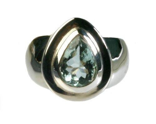 Zilveren ring aquamarijn maat 18 1/4 | druppel 1,1 x 0,7 cm
