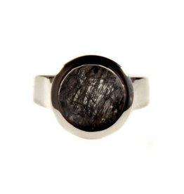 Zilveren ring toermalijnkwarts maat 18 3/4 | rond facet