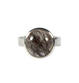 Zilveren ring toermalijnkwarts maat 17 3/4 | rond 1,3 cm