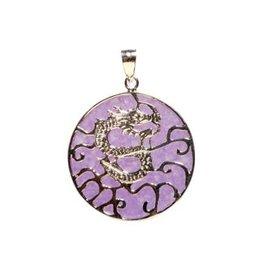 Zilveren hanger jade (paars gekleurd) draak