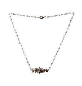 Zilveren ketting 7 Herkimer diamantjes