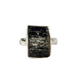 Zilveren ring toermalijn (zwart) maat 18 3/4 | ruw 1,8 x 1,2 cm
