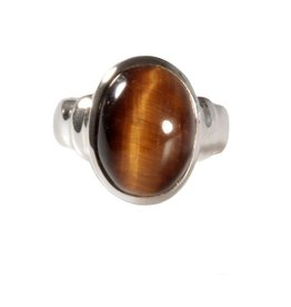 Zilveren ring tijgeroog maat 17 1/2 | ovaal 1,5 x 1,2 cm