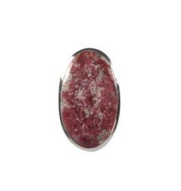 Zilveren ring thuliet maat 19 1/4 | ovaal 2,7 x 1,6 cm