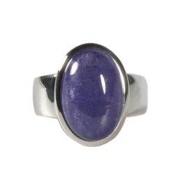 Zilveren ring tanzaniet maat 18 1/4 | ovaal 1,5 x 1 cm