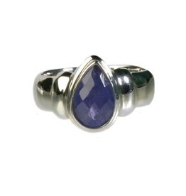 Zilveren ring tanzaniet maat 18 1/4 | druppel facet