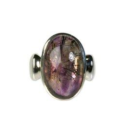 Zilveren ring super seven maat 17 3/4 | ovaal 1,8 x 1,2 cm