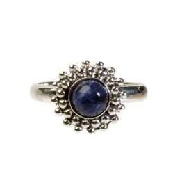 Zilveren ring sodaliet maat 17 1/4 | rond bolletjes