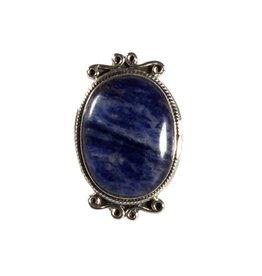 Zilveren ring sodaliet maat 19 | ovaal 2,2 x 1,8 cm