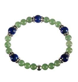 Zilveren armband aventurijn en lapis lazuli 6 en 8 mm