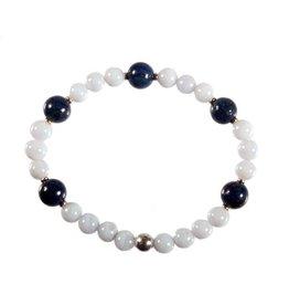 Zilveren armband chalcedoon en lapis lazuli