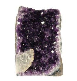 Amethist cluster met calciet kristal 9 x 5,5 x 12,5 cm / 905 gram