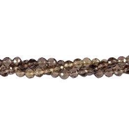 Obsidiaan (apachetranen) kralen rond facet 6 mm (streng van 40 cm)