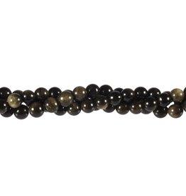 Obsidiaan (goud) kralen rond 6 mm (snoer van 40 cm)