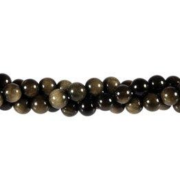 Obsidiaan (goud) kralen rond 8 mm (streng van 40 cm)