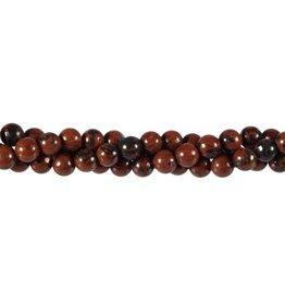 Obsidiaan (mahonie) kralen rond 6 mm (streng van 40 cm)